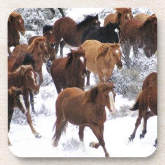 Wild Horse Running on Snow Beverage Coaster