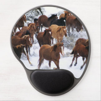 Wild Horse Running on Snow Gel Mouse Pad