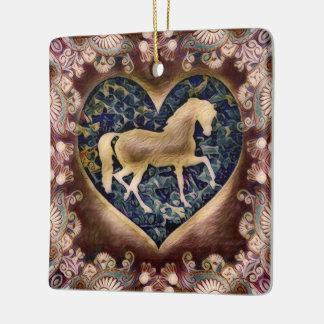 Wild Horse Silhouette Ceramic Ornament