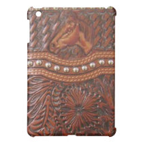 """Wild Horse"" Tooled Leather Western IPad Case"