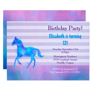 Wild Horse  Watercolor Horizontal Stripes Birthday Card