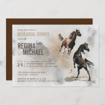 Wild Horse Watercolor  Rehearsal Dinner Wedding Invitation
