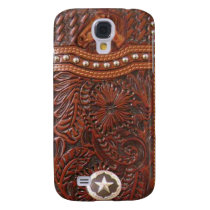 """""""Wild Horse"""" Western Tooled Leather Look IPhone 3 Samsung Galaxy S4 Cover"""