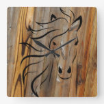 Wild Horse Wood Plank Square Wall Clock