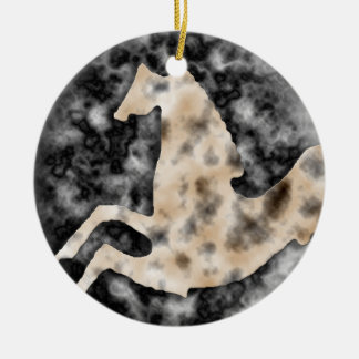 Wild Horses #15 Tarnished Silver Ceramic Ornament