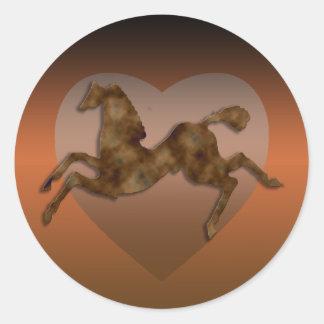 Wild Horses #1 Caramel Cream Round Stickers