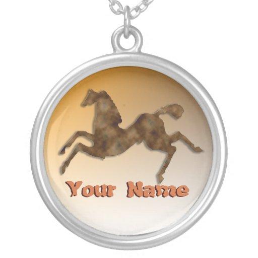 Wild Horses #1 Caramel Round Pendant Necklace