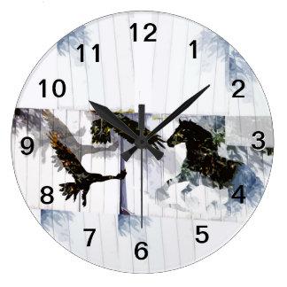 Wild Horses and Eagles Large Clock Wall Clock