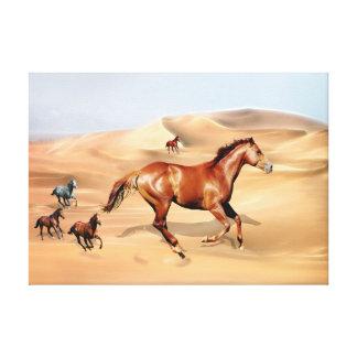 Wild horses and sand dunes canvas print