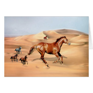Wild horses and sand dunes card