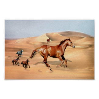 Wild horses and sand dunes posters