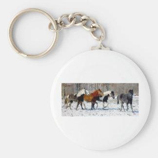 Wild Horses Basic Round Button Keychain