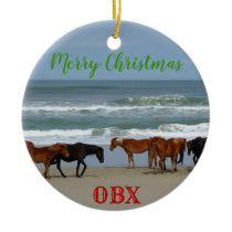 Wild Horses Corolla Outer Banks OBX Ceramic Ornament