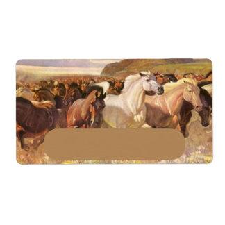 Wild Horses Horse Run Stampede Art Address Label