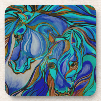 Wild  Horses In Brown and Teal Coaster