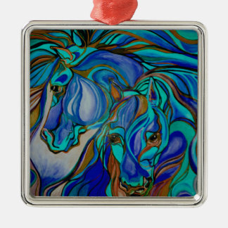 Wild  Horses In Brown and Teal Metal Ornament