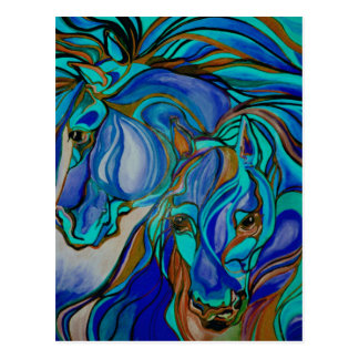 Wild  Horses In Brown and Teal Postcard