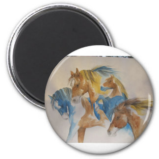 Wild Horses In Pastels 2 Inch Round Magnet
