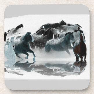wild horses in snow coaster