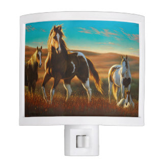 Wild Horses in Sunlight Night Light