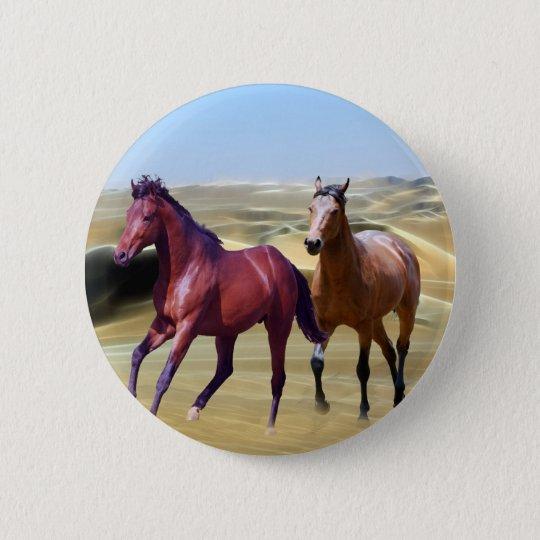 Wild horses in the desert button