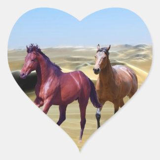 Wild horses in the desert heart sticker