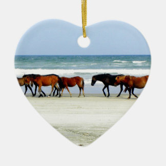 Wild Horses OBX NC jpg Double-Sided Heart Ceramic Christmas Ornament