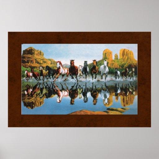 Wild Horses on Leather Print