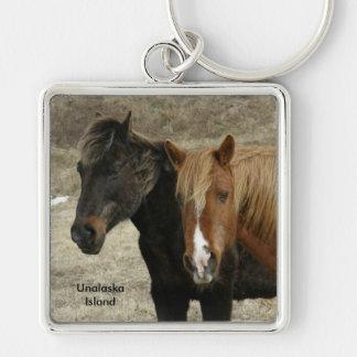 Wild Horses on Unalaska Island Keychain
