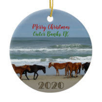 Wild Horses Outer Banks OBX 2020 Christmas Ceramic Ornament