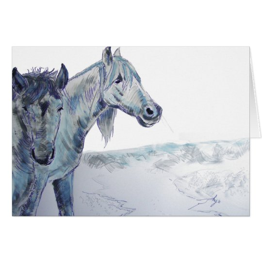Wild Horses Painting  'Taking The Air III' Card