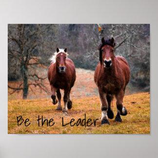 Wild Horses Racing in Woods Poster