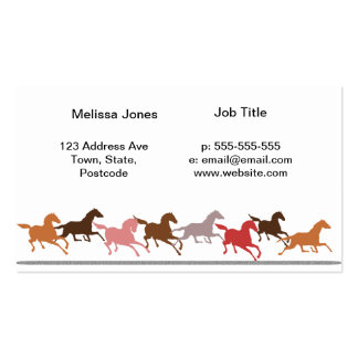 Wild horses running business card template