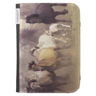 Wild horses running kindle folio case