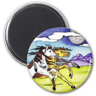 Wild Horses Running Free 2 Inch Round Magnet