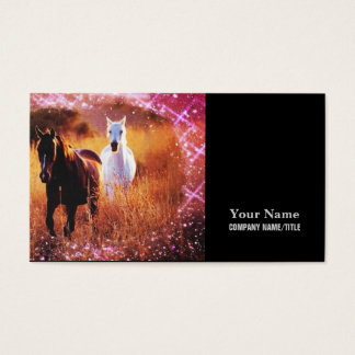 Wild horses running free in field business card