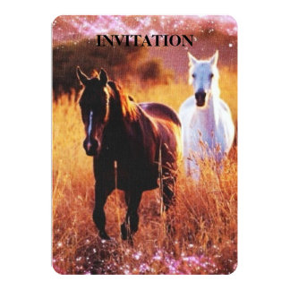 Wild horses running free in field card