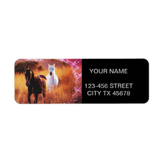 Wild horses running free in field custom return address label