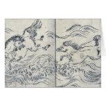 Wild horses running in water by Tachibana,Morikuni Greeting Card