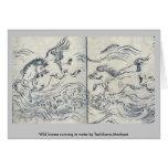 Wild horses running in water by Tachibana,Morikuni Greeting Cards