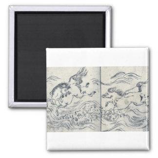 Wild horses running in water by Tachibana,Morikuni Fridge Magnet