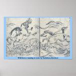 Wild horses running in water by Tachibana,Morikuni Poster