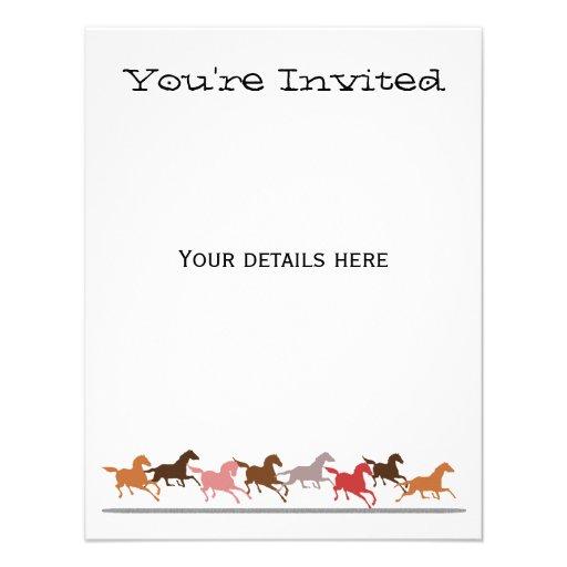 Wild horses running custom invites