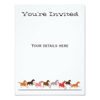Wild horses running 4.25x5.5 paper invitation card