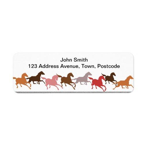 Wild horses running custom return address labels