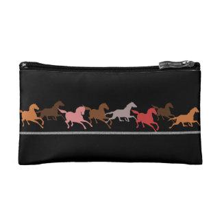 Wild horses running makeup bag