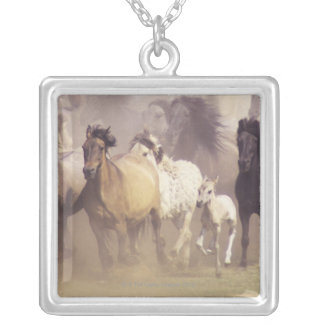 Wild horses running necklaces