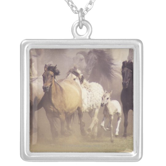 Wild horses running silver plated necklace