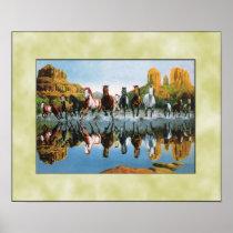 Wild horses running through water poster