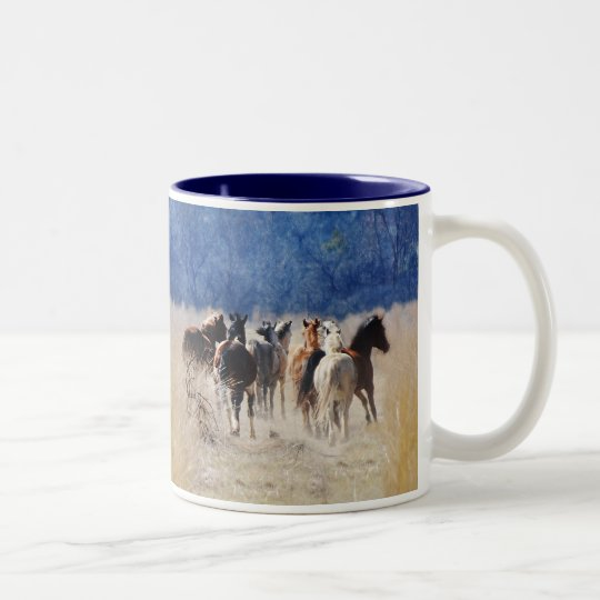 Wild horses running Two-Tone coffee mug